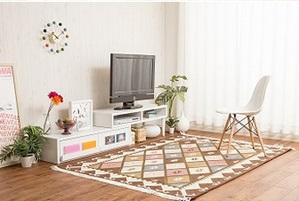 伸縮・回転式テレビボード【AUTICA】ホワイト