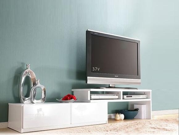 伸縮式TVボード/テレビ台 前板鏡面ホワイト(白)