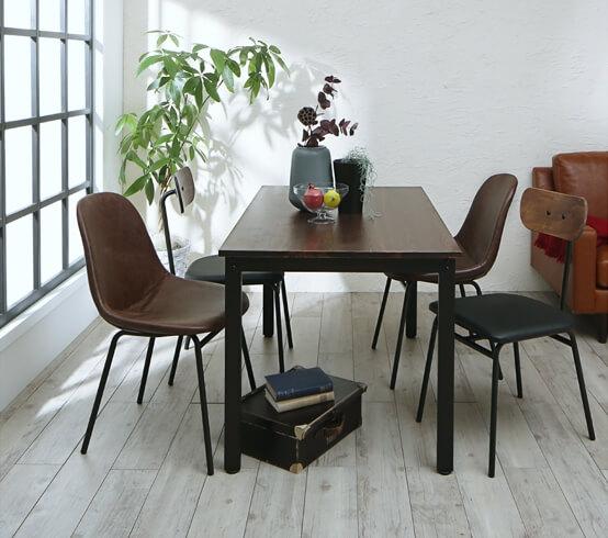 天然木パイン無垢材ヴィンテージデザインダイニングテーブル 2種類のチェア