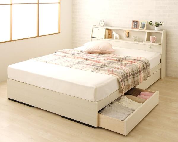 ホワイト木目調 収納付きベッド【AMI】アミ