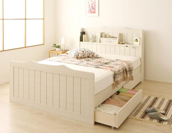 ホワイト木目調 棚・ライト付きおしゃれベッド【etoile】エトワール