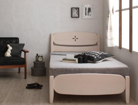 天然木パイン材・北欧デザインすのこベッド mirlo ミルロ ホワイト