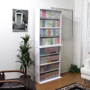 ガラス扉付き本棚 ホワイト