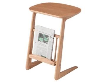 木製棚収納付きサイドテーブル