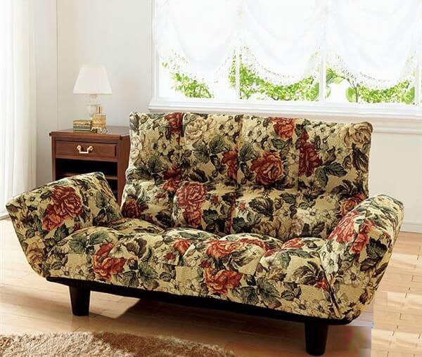 ふっくらリクライニングソファー花柄