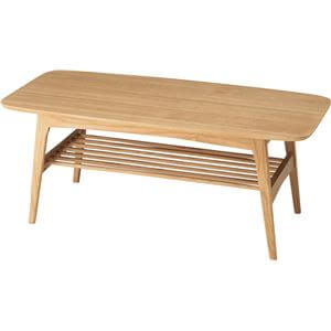 応接テーブル 天然木棚付き