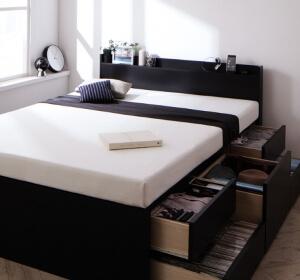 ブラックの大容量収納付きベッド【Armario】アーマリオ