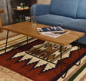 天然木とアイアンのローテーブル