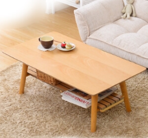 棚付き脚折れ木製センターテーブル
