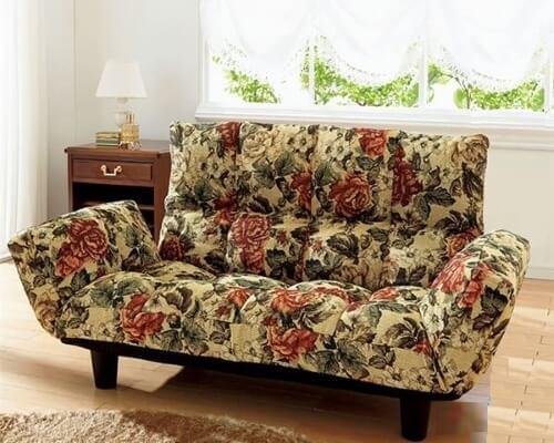 ふっくらリクライニングソファ 花柄
