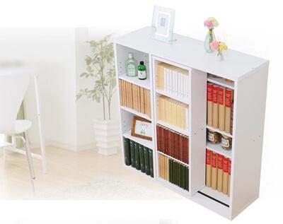スライド書棚【Livre】リーブル シングルスライド深型タイプ ホワイト