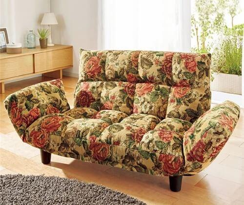 花柄ふっくらリクライニングソファ