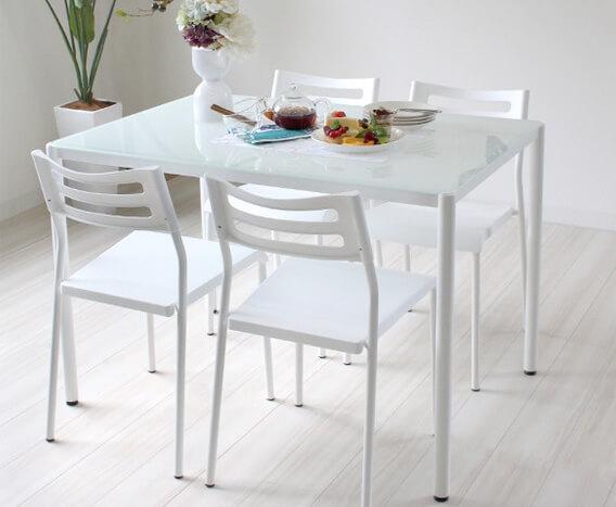 ダイニングテーブル【SESAME】セサミ ホワイト5点セット
