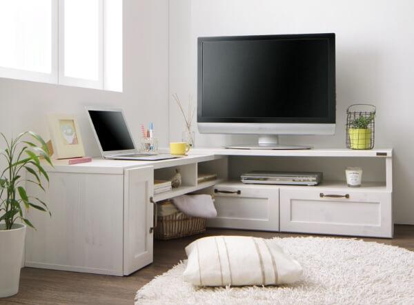 伸縮スライドテレビボード【Fanni】ファンニ ホワイト