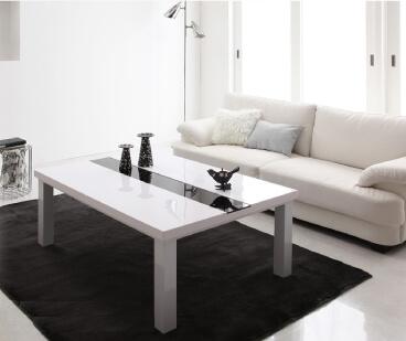 鏡面仕上げこたつテーブル【VADIT】バディット ラスターホワイト105×75cm