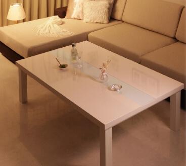 鏡面仕上げこたつテーブル【VADIT】バディット ダブルホワイト105×75cm