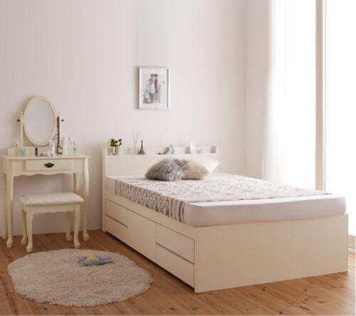 収納付きすのこベッド【Salvato】サルバト ホワイト