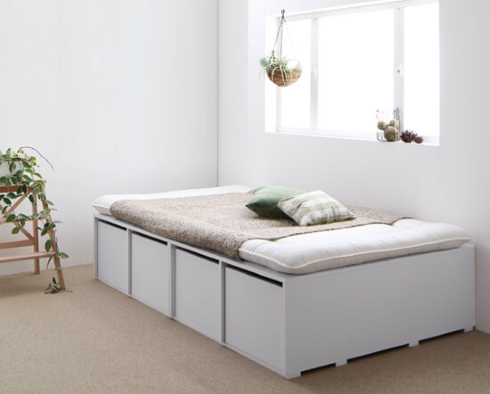 大容量収納ベッド【Semper】センペール ホワイト