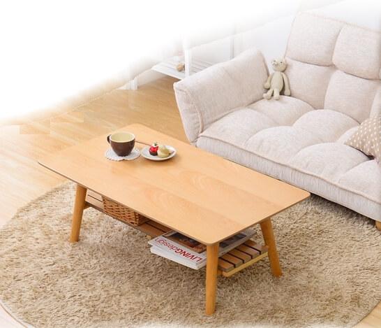 収納棚付き木製ローテーブル【-Horia-ホリア】ビーチ