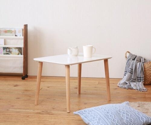 木目鏡面ローテーブル ホワイト