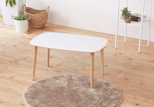 木目鏡面ローテーブル ホワイト75cm