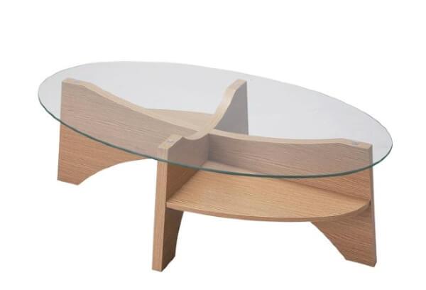 強化ガラスオーバル型ローテーブル ナチュラル