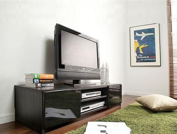 背面収納ローボード/テレビ台 前板鏡面 ブラック(黒)