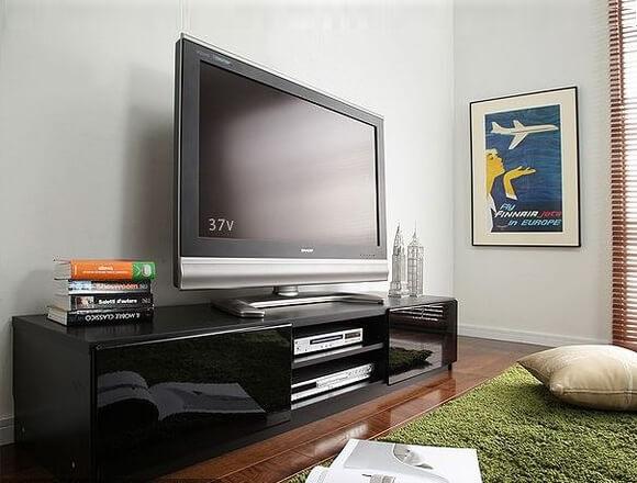背面収納ローボード/テレビ台 前板鏡面 ブラック(黒)150