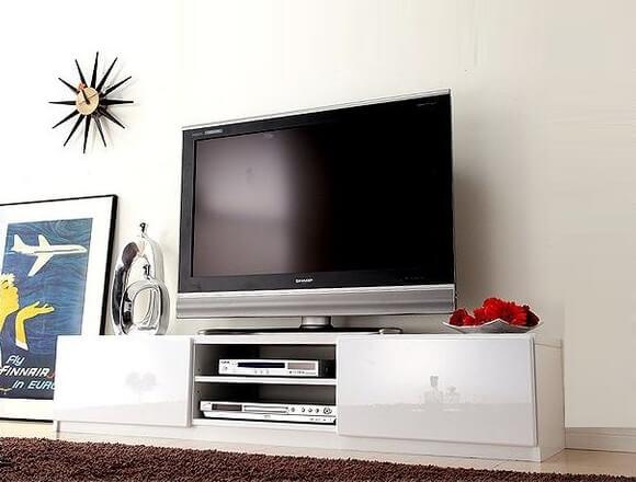 背面収納ローボード/テレビ台 前板鏡面ホワイト(白)150