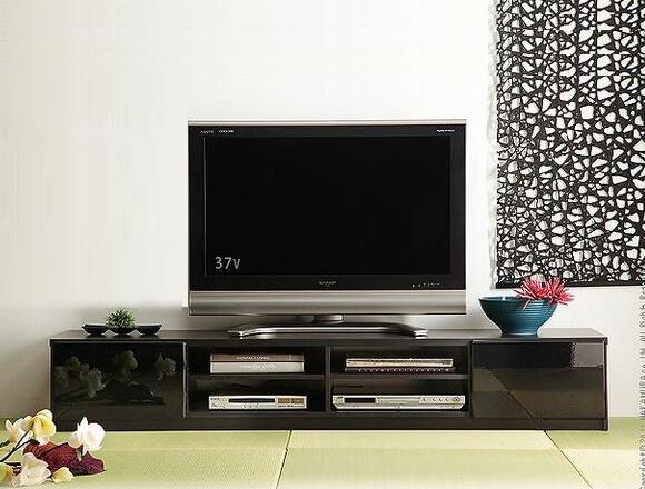 背面収納ローボード/テレビ台 前板鏡面 ブラック(黒)180cm