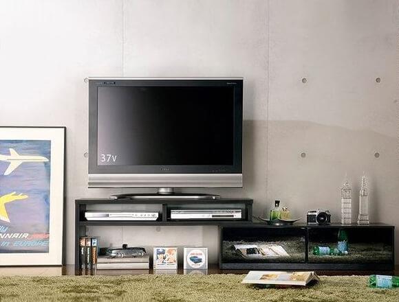 背面収納伸縮式TVボード/テレビ台 前板鏡面ブラック(黒)