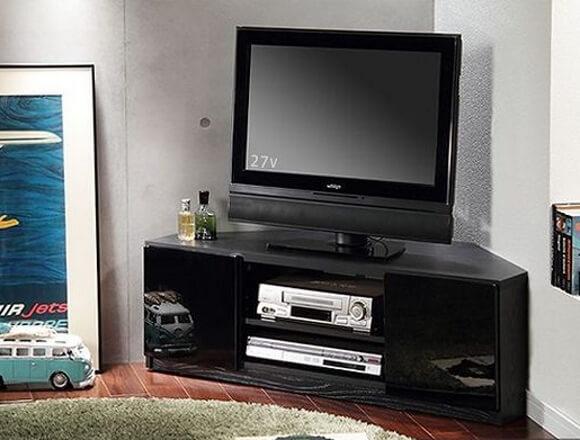 背面収納コーナーローボード/テレビ台 前板鏡面ブラック(黒)
