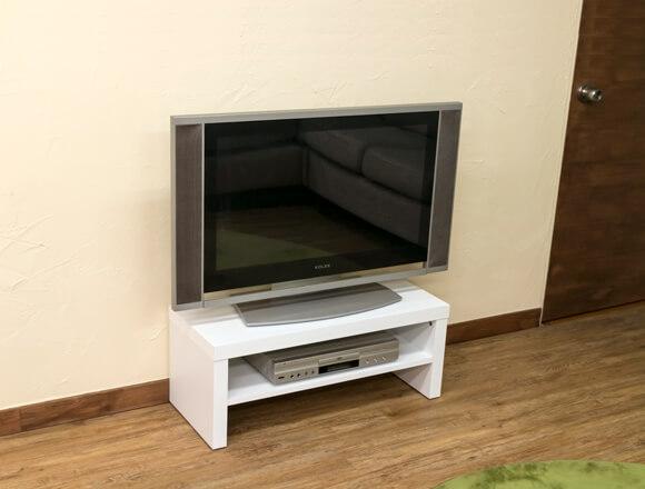 テレビ台 ホワイト 鏡面仕上げ オープン収納棚付き