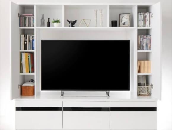 シャインホワイト 鏡面仕上げハイタイプTVボード