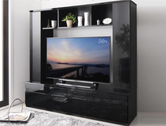 グロスブラック 鏡面仕上げハイタイプTVボード