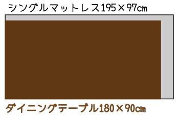 マットレスと180cmのテーブルの大きさ比較