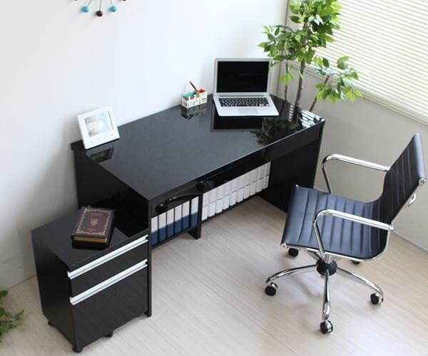 パソコンデスク150cm幅+2段チェスト ブラック