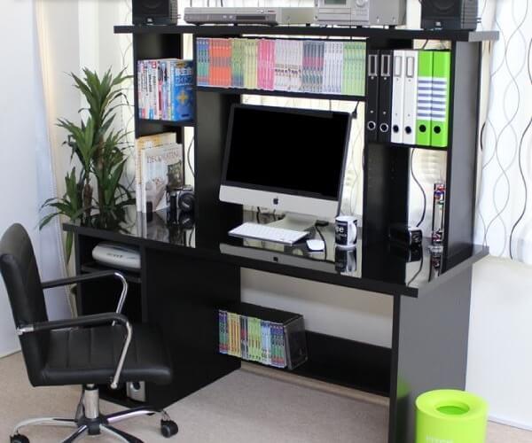 パソコンデスク 上置書棚付き