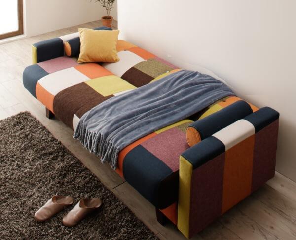 パッチワークソファーベッド【Legouix】ルグー オレンジ×ネイビー