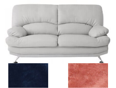 グレーのソファと2色のラグ