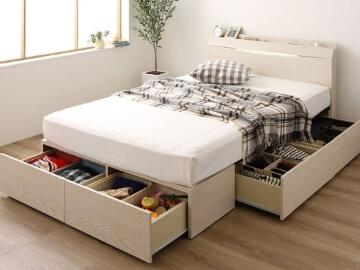 連結ベッド『Famirest』ファミレスト 棚・コンセント・ライト・収納付き