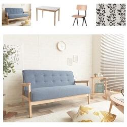 ブルーのソファのコーディネート