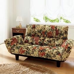 レトロ風花柄リクライニングソファ