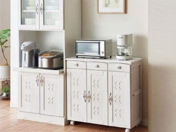 かわいい キッチン収納シリーズ ホワイトウォッシュ