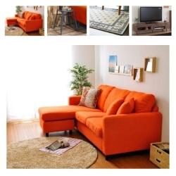 オレンジのソファのコーディネート