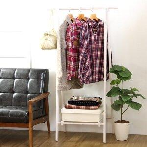 木製棚付きハンガーラック ホワイト