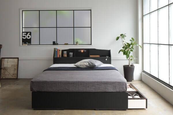 安い収納付きベッド【STELA】ステラ ブラック