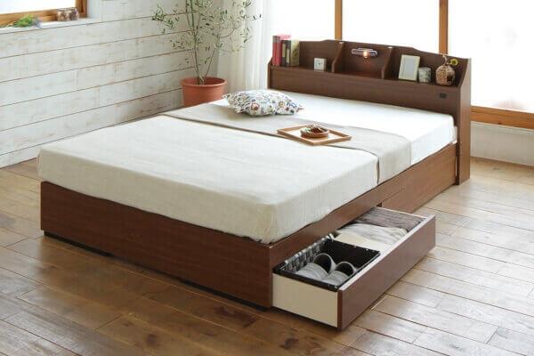 安い収納付きベッド【STELA】ステラ ブラウン