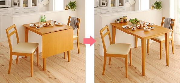 伸縮ダイニングテーブル 通常時と伸長時