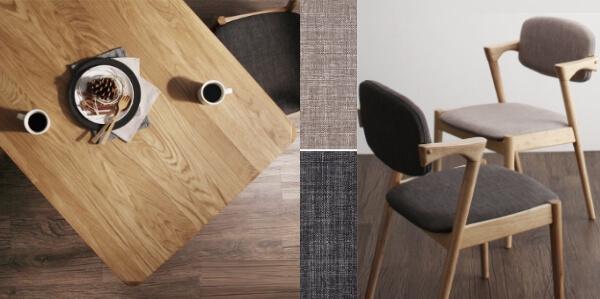 天然木オーク無垢材ダイニングテーブル【The North】ザ・ノース 天板と椅子